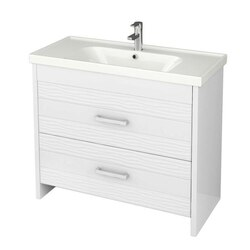 NAMEEKS LOT-F02 LOTUS 39 INCH WHITE VANITY CABINET WITH FITTED SINK