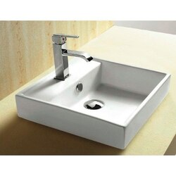 CARACALLA CA4148A-ONE HOLE CERAMICA 15 INCH SQUARE WHITE CERAMIC SELF RIMMING BATHROOM SINK