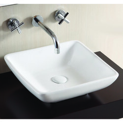 CARACALLA CA4322-NO HOLE CERAMICA 16 INCH SQUARE WHITE CERAMIC VESSEL BATHROOM SINK