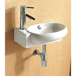 CARACALLA CA4522-ONE HOLE CERAMICA 18 INCH ROUND WHITE CERAMIC WALL MOUNTED OR VESSEL BATHROOM SINK