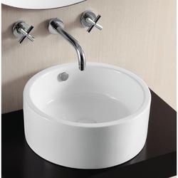 CARACALLA CA4570-NO HOLE CERAMICA II 16 INCH ROUND WHITE CERAMIC VESSEL BATHROOM SINK
