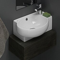 CERASTYLE 001300-U-ONE HOLE MINI 18 INCH CURVED CORNER WHITE CERAMIC WALL MOUNTED OR VESSEL SINK