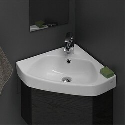 CERASTYLE 001900-U-ONE HOLE ARDA 25 INCH CORNER WHITE CERAMIC SELF-RIMMING OR WALL MOUNTED BATHROOM SINK