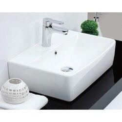 CERASTYLE 061600-U-ONE HOLE POCO 22 INCH SQUARE WHITE CERAMIC WALL MOUNTED OR VESSEL BATHROOM SINK