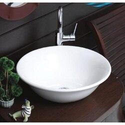 CERASTYLE 072600-NO HOLE LAL C 18 INCH ROUND WHITE CERAMIC VESSEL BATHROOM SINK