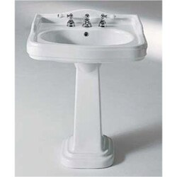 GSI 564412-THREE HOLE OLD ANTEA 35 INCH WHITE CLASSIC-STYLE CERAMIC PEDESTAL BATHROOM SINK