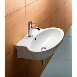 GSI 663811-ONE HOLE PANORAMA 24 INCH OVAL-SHAPED WHITE CERAMIC WALL MOUNTED BATHROOM SINK