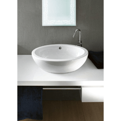 GSI 664911-NO HOLE PANORAMA 24 INCH OVAL-SHAPED WHITE CERAMIC VESSEL BATHROOM SINK
