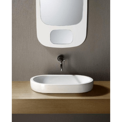 GSI 668611-NO HOLE PANORAMA 22 INCH OVAL-SHAPED WHITE CERAMIC VESSEL BATHROOM SINK