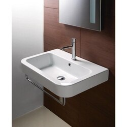 GSI 693211-THREE HOLE TRACCIA 26 INCH CURVED RECTANGULAR WHITE CERAMIC WALL MOUNTED BATHROOM SINK