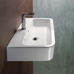 GSI 694011-NO HOLE TRACCIA 30 INCH CURVED RECTANGULAR WHITE CERAMIC WALL MOUNTED OR VESSEL BATHROOM SINK