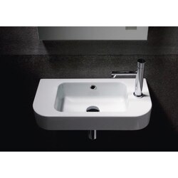 GSI 694711 TRACCIA 22 INCH CURVED WHITE CERAMIC WALL MOUNTED BATHROOM SINK