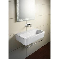 GSI 694911-THREE HOLE TRACCIA 24 INCH CURVED RECTANGULAR WHITE CERAMIC WALL MOUNTED OR VESSEL BATHROOM SINK