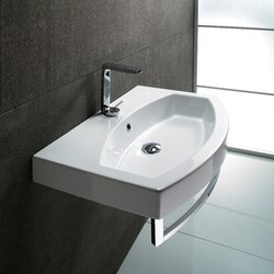 GSI 752211-ONE HOLE LOSAGNA 32 INCH CURVED WHITE CERAMIC WALL MOUNTED OR SELF RIMMING BATHROOM SINK