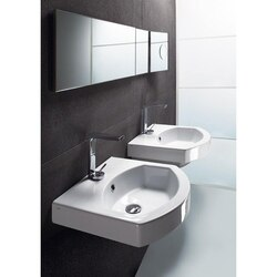 GSI 758611-ONE HOLE LOSAGNA 20 INCH CURVED WHITE CERAMIC WALL MOUNTED OR SELF RIMMING BATHROOM SINK