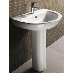 GSI MCITY3012-ONE HOLE CITY 23 INCH ROUND WHITE CERAMIC PEDESTAL BATHROOM SINK