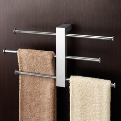 GEDY 7630-13 BRIDGE POLISHED CHROME WALL MOUNTED TOWEL RACK WITH 3 16 INCH SLIDING RAILS