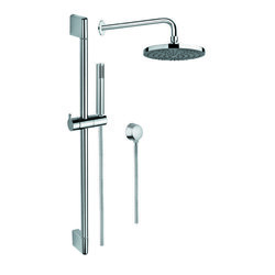 GEDY SUP1024 SUPERINOX CHROME SHOWER SYSTEM WITH HAND SHOWER, SLIDING RAIL, SHOWERHEAD, AND WATER CONNECTION