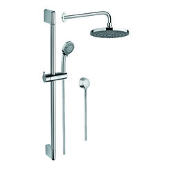 GEDY SUP1022 SUPERINOX CHROME SHOWER SYSTEM WITH HAND SHOWER AND SLIDING RAIL, SHOWERHEAD, AND WATER CONNECTION