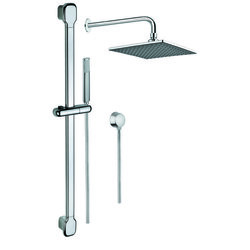 GEDY SUP1017 SUPERINOX SHOWER SYSTEM WITH CHROME HAND SHOWER, SLIDING RAIL, SHOWERHEAD, AND WATER CONNECTION