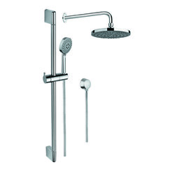 GEDY SUP1032 SUPERINOX CHROME SHOWER SYSTEM WITH HAND SHOWER, SLIDING RAIL, SHOWERHEAD, AND WATER CONNECTION