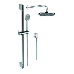 GEDY SUP1040 SUPERINOX POLISHED CHROME SHOWER SOLUTION WITH HAND SHOWER, SLIDING RAIL, SHOWERHEAD, AND WATER CONNECTION