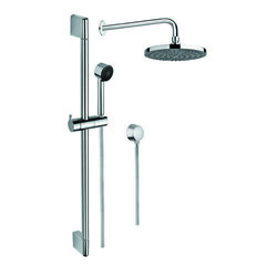 GEDY SUP1021 SUPERINOX CHROME SHOWER SYSTEM WITH HAND SHOWER AND SLIDING RAIL, SHOWER, AND WATER CONNECTION