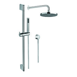 GEDY SUP1010 SUPERINOX CHROME SHOWER SYSTEM WITH HAND SHOWER WITH SLIDING RAIL, SHOWERHEAD, AND WATER CONNECTION