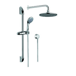 GEDY SUP1020 SUPERINOX CHROME SHOWER SYSTEM WITH HAND SHOWER WITH SLIDING RAIL, SHOWERHEAD, AND WATER CONNECTION
