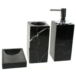 GEDY AN200-14 ANTHURIUM BLACK MARBLE BATHROOM ACCESSORY SET IN 3 PIECES
