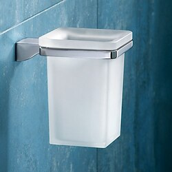 GEDY 5710-13 GLAMOUR WALL MOUNTED SQUARE FROSTED GLASS TOOTHBRUSH HOLDER WITH CHROME MOUNTING