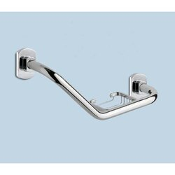 GEDY ED20-13 EDERA 11 INCH POLISHED CHROME SHOWER GRAB BAR WITH SOAP HOLDER
