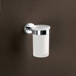 GEDY 3710-13 TEXAS WALL MOUNTED FROSTED GLASS TOOTHBRUSH HOLDER WITH CHROME MOUNTING