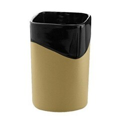 GEDY 7110-82 NAMIBIA BLACK/MUSTARD POTTERY TOOTHBRUSH HOLDER
