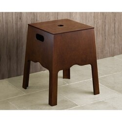 GEDY 8173-95 MONTANA FLOOR STANDING STORAGE BING AND STOOL IN OLD WALNUT FINISH