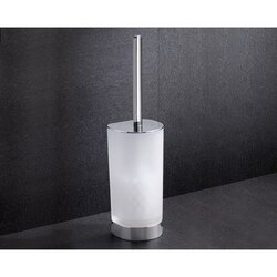 GEDY 5533-13 KENT FROSTED GLASS TOILET BRUSH HOLDER WITH CHROME BASE