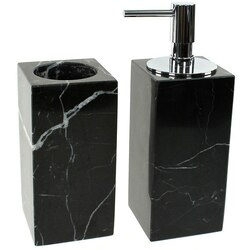 GEDY AN500-14 ANTHURIUM BLACK 2 PIECE MARBLE BATHROOM ACCESSORY SET