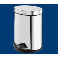 GEDY 2809-13 ARGENTA ROUND CHROME WASTE BIN WITH PEDAL