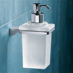 GEDY 5781-13 GLAMOUR WALL MOUNTED SQUARE FROSTED GLASS SOAP DISPENSER WITH CHROME MOUNTING