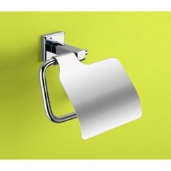 GEDY 6925-13 COLORADO POLISHED CHROME TOILET ROLL HOLDER WITH COVER