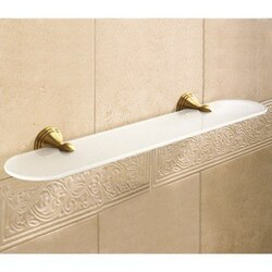 GEDY 7519-60-44 ROMANCE 23.6 INCH FROSTED GLASS BATHROOM SHELF WITH BRONZE HOLDER