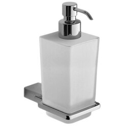 GEDY 3881-13 KANSAS WALL MOUNTED SQUARE FROSTED GLASS SOAP DISPENSER
