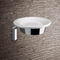 GEDY 3511-02 KARMA WALL MOUNTED ROUND GLOSSY WHITE POTTERY SOAP DISH WITH CHROME MOUNTING