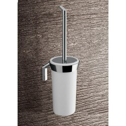 GEDY 3533-03-02 KARMA WALL MOUNTED GLOSSY WHITE GLASS TOILET BRUSH HOLDER WITH CHROME MOUNTING