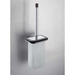 GEDY 4333-03-19 ODOS WOOD WALL MOUNTED FROSTED GLASS TOILET BRUSH HOLDER WITH WENGE WOOD FRAME