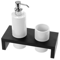 GEDY 3399-78 KELLY WENGE SOAP DISPENSER AND TUMBLER COMBO