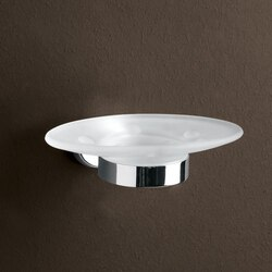 GEDY 3711-13 TEXAS WALL MOUNTED FROSTED GLASS SOAP DISH WITH CHROME MOUNTING