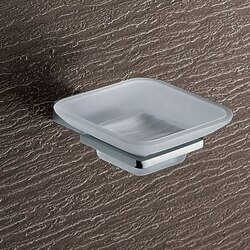 GEDY 3811-13 KANSAS WALL MOUNTED FROSTED GLASS SOAP DISH WITH CHROME MOUNTING