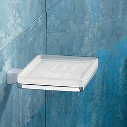 GEDY 5711-13 GLAMOUR WALL MOUNTED SQUARE FROSTED GLASS SOAP DISH WITH CHROME MOUNTING