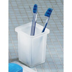 GEDY 5798-02 GLAMOUR SQUARE FROSTED GLASS TOOTHBRUSH HOLDER